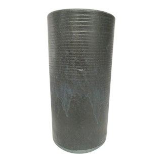 Zanesville Stoneage Modern Rustic Stoneware Black Cylinder Vase