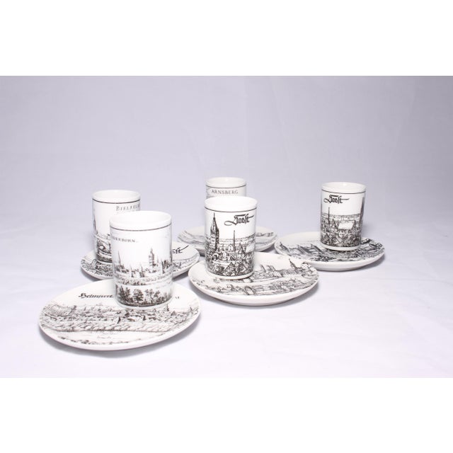 American Classical Vintage German Porcelain Cups and Plates - Set of 5 For Sale - Image 3 of 11
