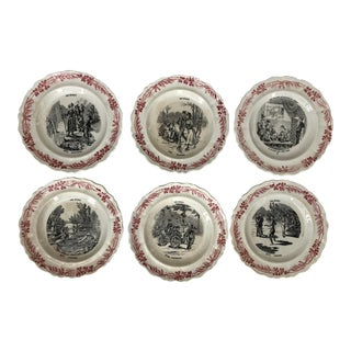 Set of Six 19th Century French Plates For Sale