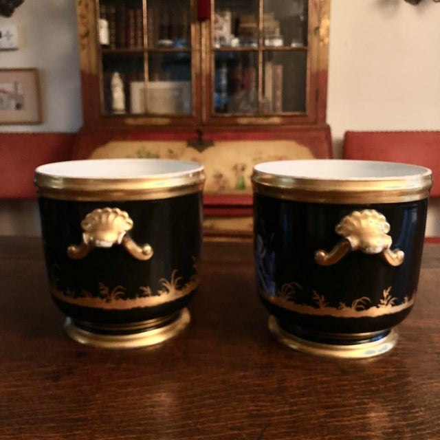 Pair of Antique French 18th Century Soft Past Porcelain Two Handles Seaux a Bouteille (Wine Bucket) with Grisailles...