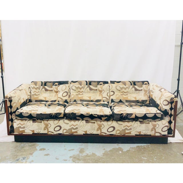 Fabulous Vintage Mid Century Modern Wood Framed Sofa on Black Plinth Base. Funky and Milo Baughman for Thayer Coggins...