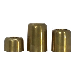 Set of 3 Modernist Brass Candle Holders For Sale