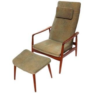 Søren Ladefoged Danish Modern Reclining Lounge Chair & Ottoman - A Pair