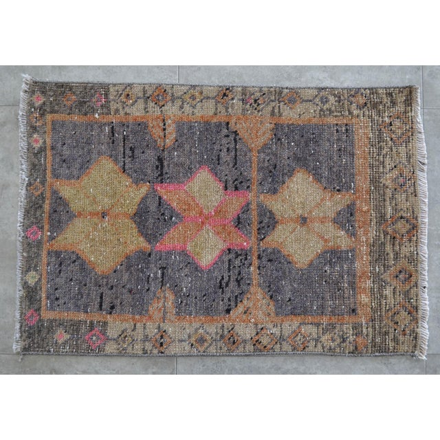 """Oushak Rug Mat Distressed Small Rug - 1'9"""" X 2'8"""" For Sale - Image 4 of 4"""