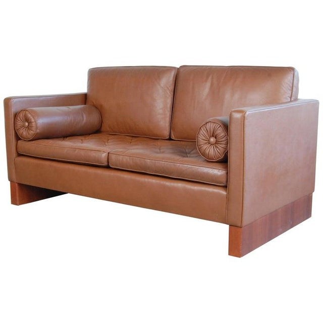 Mies Van Der Rohe Brown Leather Settee for Knoll International For Sale - Image 11 of 11