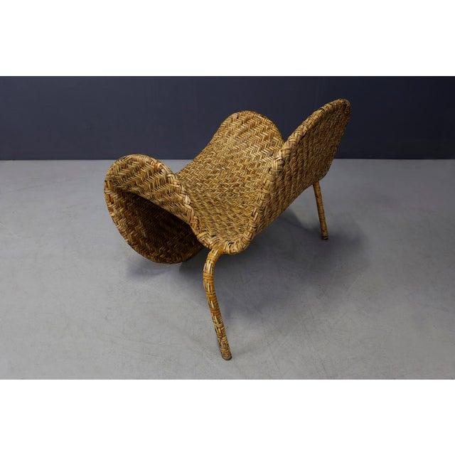 Italian Mid-Century Armchairs in Beige Colored Rattan, 1950s For Sale - Image 6 of 12