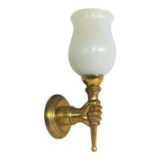 1930s French Art Deco Gold Bronze Fist Holding Torch Sconce Attrib. Andre Arbus For Sale