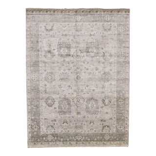 Transitional Silk Area Rug With Neoclassical Style and Oushak Design, 09'00 X 11'11 For Sale