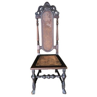 Victorian Gothic Revival Wicker Seat Carved Oak Side Throne Chair For Sale