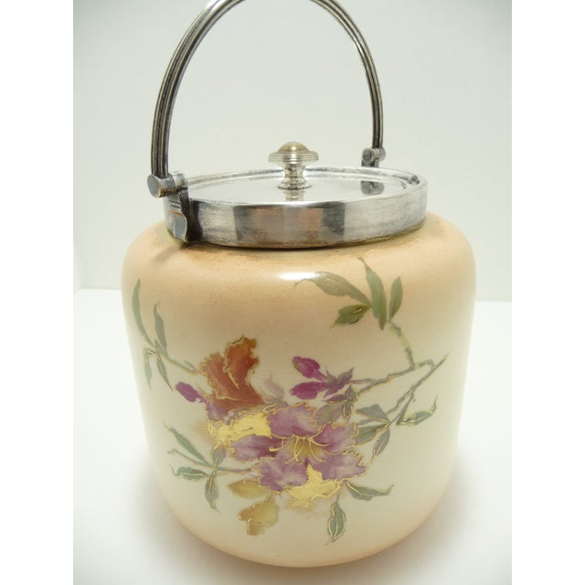 Late 19th Century Hand Painted Antique European Porcelain Biscuit Barrel For Sale - Image 5 of 10