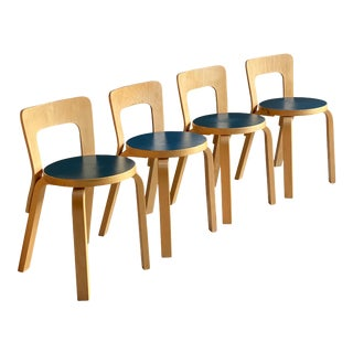 Alvar Aalto Model 65 Dining Chairs by Artek Finland, circa 1950s - Set of 4 For Sale