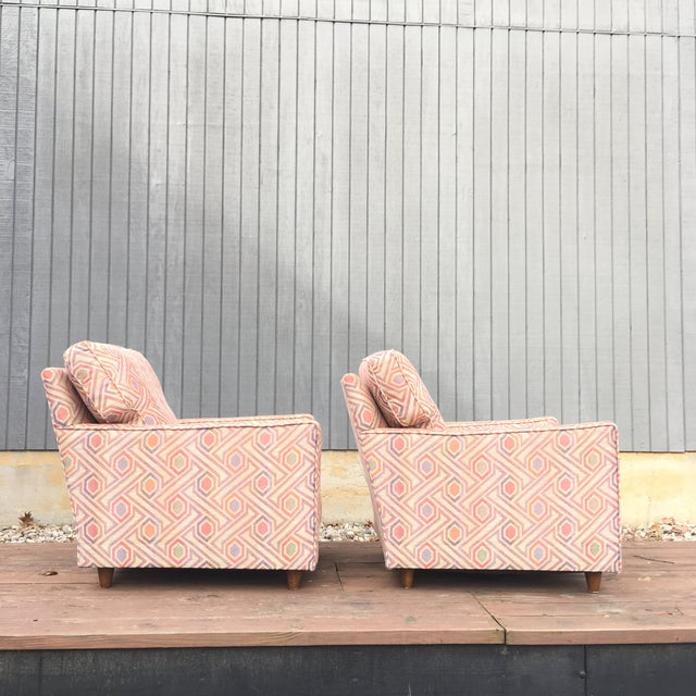 1960s Vintage Mid Century Modern Club Lounge Chairs- A Pair For Sale - Image 5 of 12