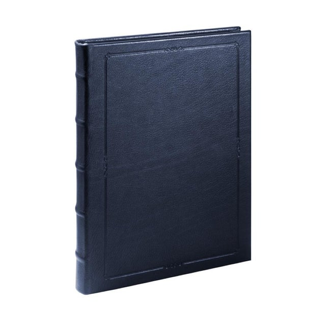 Traditional Large Hardcover Journal, Calfskin in Blue For Sale - Image 3 of 3