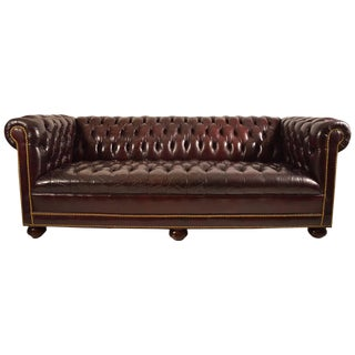 Classic Leather Chesterfield Sofa For Sale