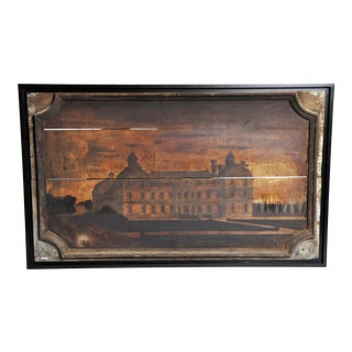 "French ""Boisserie"" Painting of a Chateau on Walnut Wood For Sale"