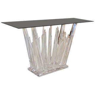 Modern Abstract Design Rock Lucite Console With Smoked Black Glass Top For Sale