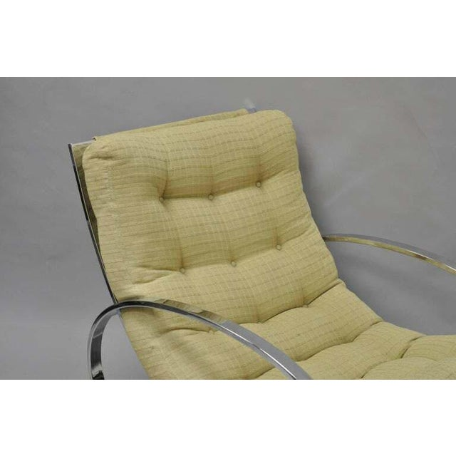 Selig Mid Century Modern Renato Zevi Selig Ellipse Milo Baughman Chrome Rocking Chair For Sale - Image 4 of 10