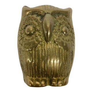 Vintage Miniature Brass Owl Paperweight For Sale