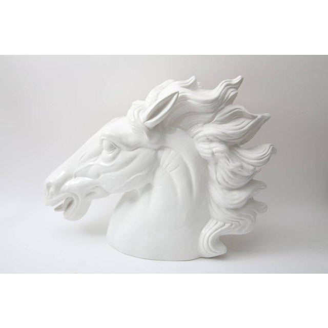 Contemporary Late 20th Century Monumental Italian White Horse Head Sculpture For Sale - Image 3 of 10