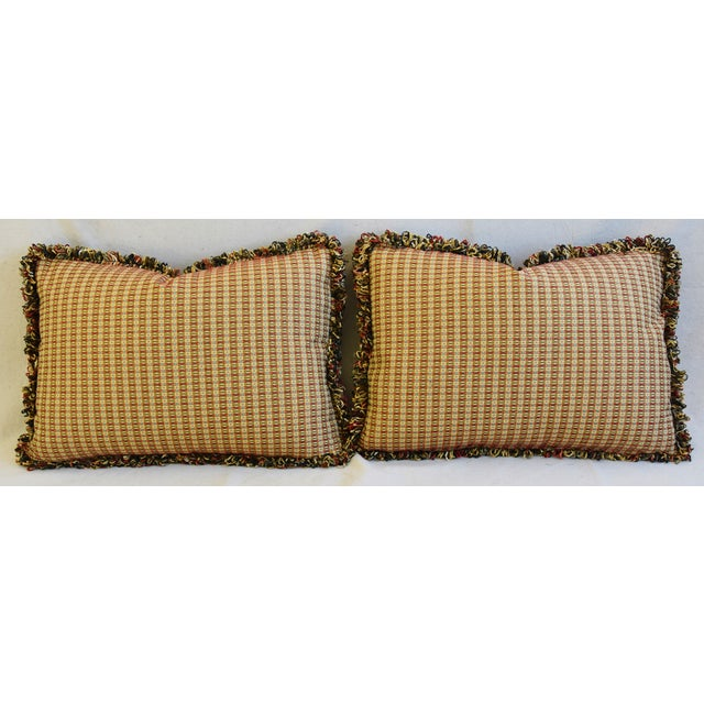 "Italian Coraggio Jacquard Feather/Down Pillows 24"" X 17"" - Pair For Sale - Image 11 of 13"