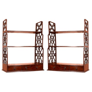 Pair of George III Mahogany Hanging Shelves For Sale