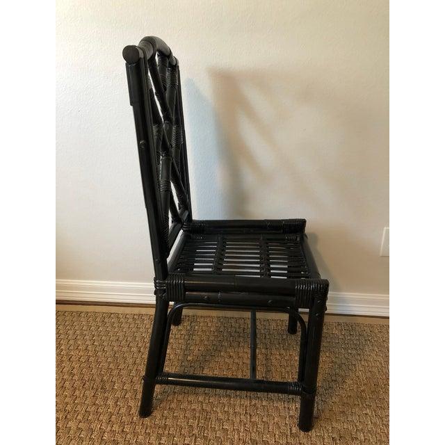 Hollywood Regency 1980s Regency Black Bamboo Side Chair For Sale - Image 3 of 11