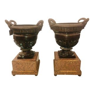 Late 19th Century Antique Bronze Ram Urns - A Pair For Sale