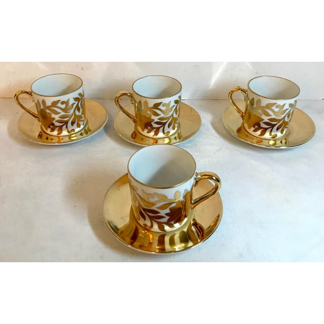 Mid 20th Century Vintage Gold and White Fitz and Floyd Demitasse Set - Set of 4 For Sale - Image 5 of 5