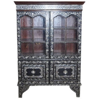 19th Century Indian Ebonized Wood Cabinet With Mother-Of-Pearl Inlay and Glass For Sale
