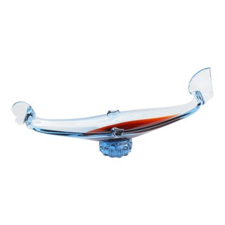1980s Red Murano Hand-Formed Gondola Ashtray For Sale