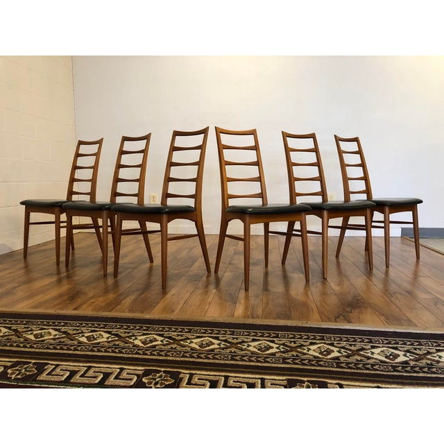 Set of six teak dining chairs designed by Niels Koefoed for Koefoeds Hornslet, made in Denmark. They are gorgeous ladder...