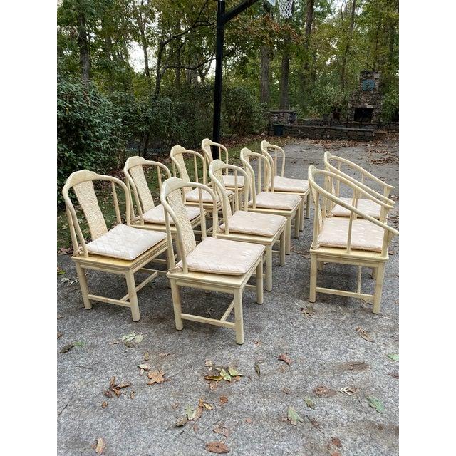 Henredon Vintage Henredon Asian Faux Goatskin Dining Chairs - Set of 10 For Sale - Image 4 of 12
