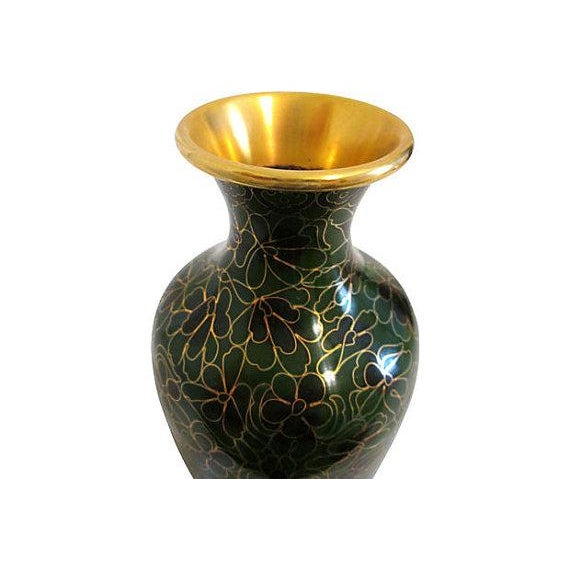 Vintage Chinese Cloisonné Black & Green Vase - Image 4 of 4