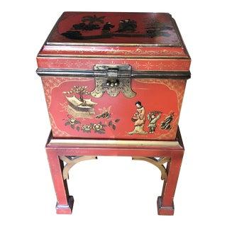 Paris Georgian Furniture Company Asian Style Orange Box on Stand For Sale