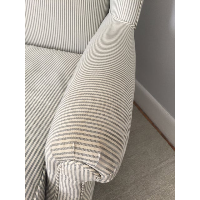 Custom Striped Wing Chair - Image 7 of 9