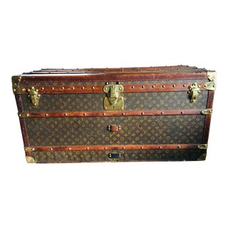 1910s French Louis Vuitton Monogram Travel Wardrobe Steamer Trunk For Sale