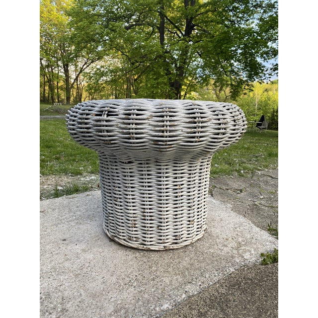 Great 1960's wicker table in the shape of a mushroom. Great for your patio or indoors. Good size for a side table, night...