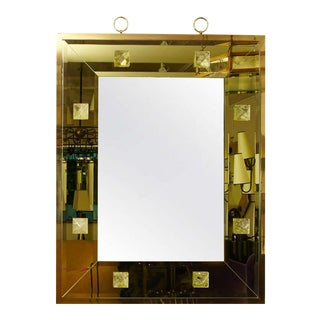 Andre Hayat Pale Yellow Rectangular Mirror With Pyramid Rock Crystal For Sale