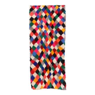 1980s Colorful Diamond Checker Moroccan Rug For Sale