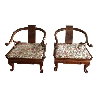 Chinese Rosewood Horseshoe Chairs - a Pair For Sale