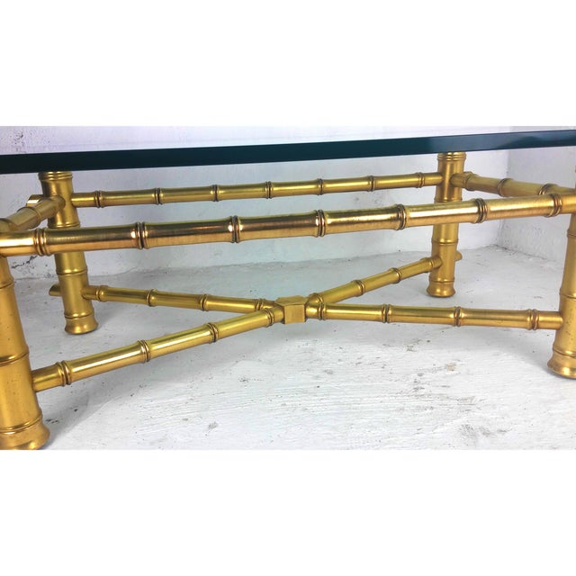 Bamboo Gold Table: Hollywood Regency Gold Leaf Faux Bamboo Coffee Table