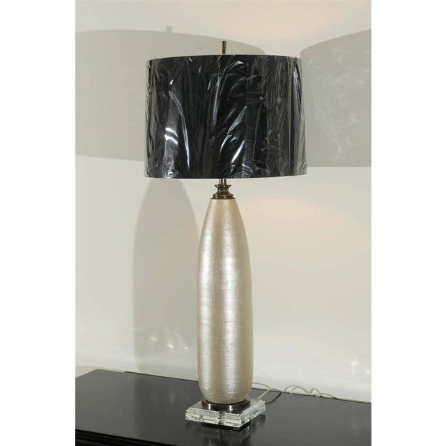 Modern Chic Pair of Alloy Colored Textured Blown Glass Lamps For Sale - Image 3 of 10