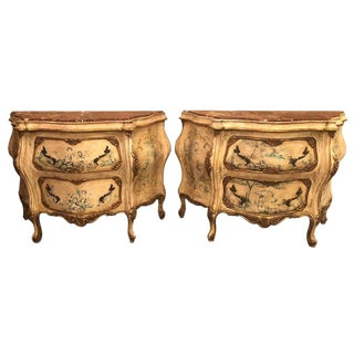 Pair of Venetian Italian Painted Marble Top Antique Bombe Commodes or Nightstand For Sale