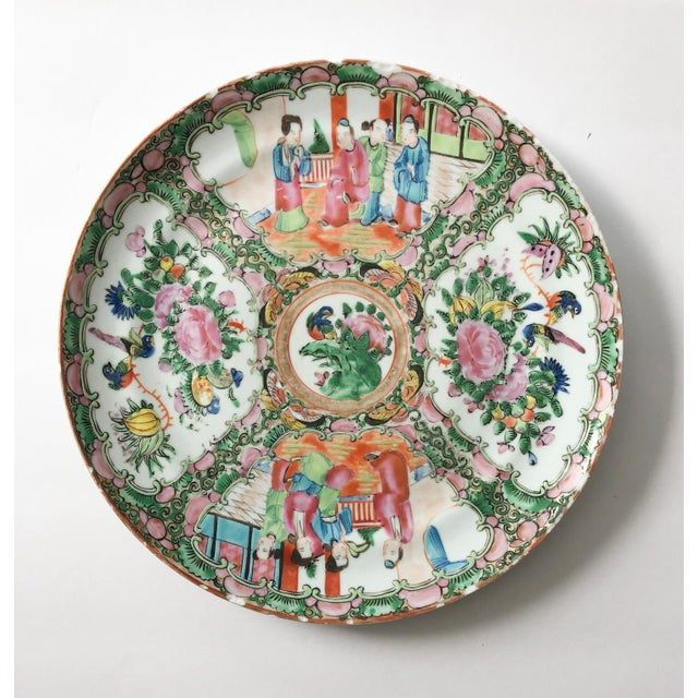 """Rose Medallion antique dinner plate with signature chips along the edges. A very good piece not marked """"Made in China,""""..."""