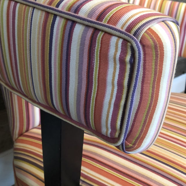 Boho Chic Boho Chic Colorful Striped Barrel Chairs - a Pair For Sale - Image 3 of 11
