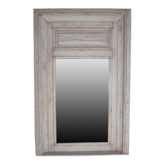 Grey Painted Carved Wood Trumeau Mirror For Sale