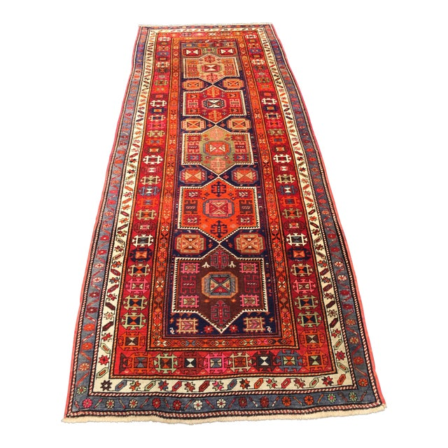 Vintage Turkish Tribal Hand Knotted Runner - 3′10″ × 10′3″ For Sale