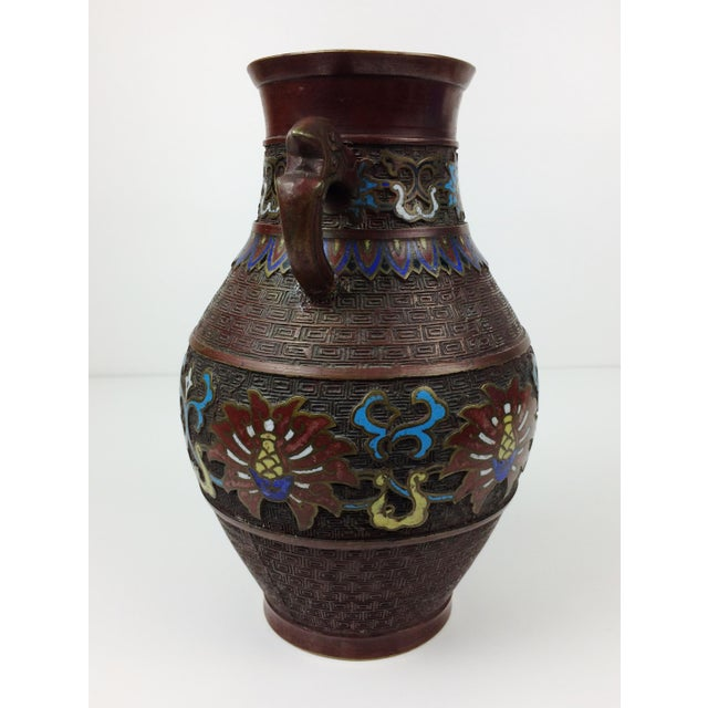 Vintage Japanese Champleve Cloisonne Bronze Vase - Image 5 of 8