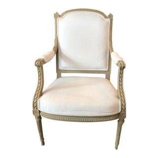 1900s Vintage Louis VI Style Gray Painted Bergere For Sale