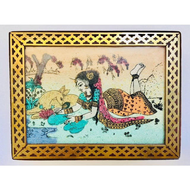 Metal Anglo-Raj Wood and Brass Box With Hand-Painted Scene For Sale - Image 7 of 10